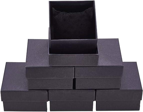 BENECREAT 6 Pack Negra Caja de Cartón Craft con Almohada Suave de Presentación Superior Envase para Reloj y Brazalete 8.7x8.7x5.5cm: Amazon.es: Hogar