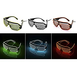 LED Light Up Glasses for Parties Flashing Luminous Festival Shutter Eyeglasses Eyewear Neon El Wire Eye Mask Spectacles for Christmas Halloween Carnival Costume Party Dance Ball