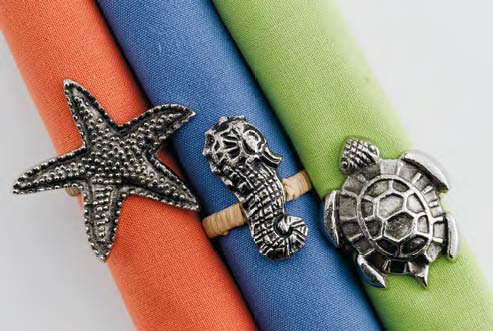DII Design Imports Beachy Keen Sea Turtle Napkin Rings Cast Brass Metal
