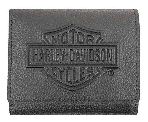 Harley-Davidson Men's Embossed B&S Logo Leather Tri-Fold Wallet XML3571-BLK (Mens Harley Davidson Wallets)