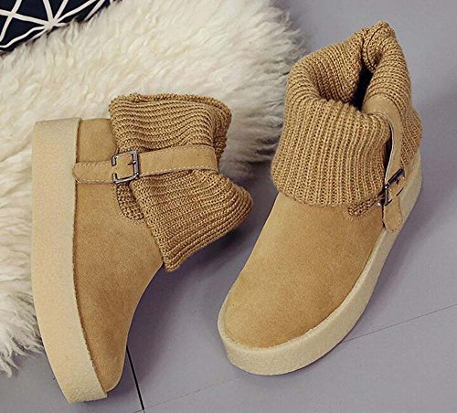 Weather Cold Belts Lambs Flats Women's Naughtyangel Snow Winter Boots Camel Wool and YACw0a1q