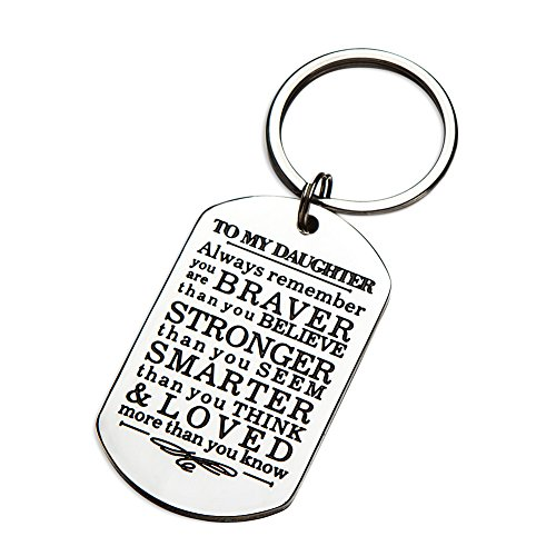 Inspirational Keychain Gifts to My Son Daughter Always Remember You are Braver Than You Believe Key Ring Charm Family Gifts from Dad Mom Graduation Birthday Christmas