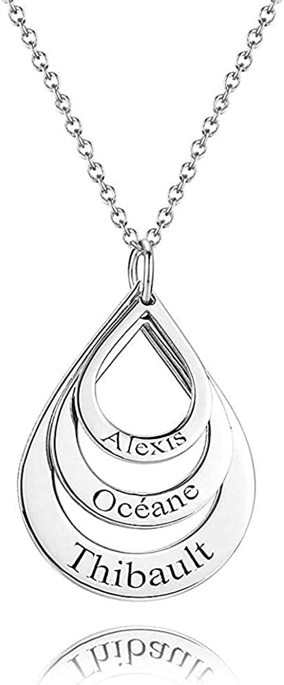 Personalized Mother Name Necklace with 3 Names for Women Customized Teardrop Shape Pendant Necklaces Custom Family Name Necklaces for Mom