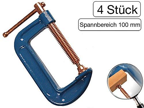 4 Stück Profi C-Schraubzwinge 100mm robust Stahl-Gewinde verkupfert gegen Schweißperlenbesatz