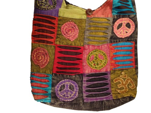 Bohemian Peace Ohm Infinity Patchwork Razorcut Bag Crossbody Purse Handmade in Nepal Fair Trade By Ragged Ends, Bags Central