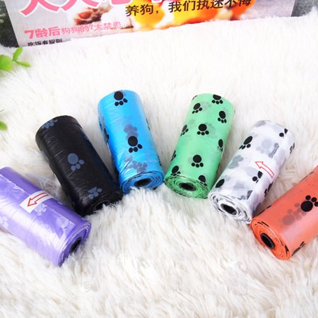 Hubry(TM) 20pcs/lot=1 roll Pet Cleaning Waste Bag Portable Outdoor Printing Puppy Poop Trash Bag For Dog Cats
