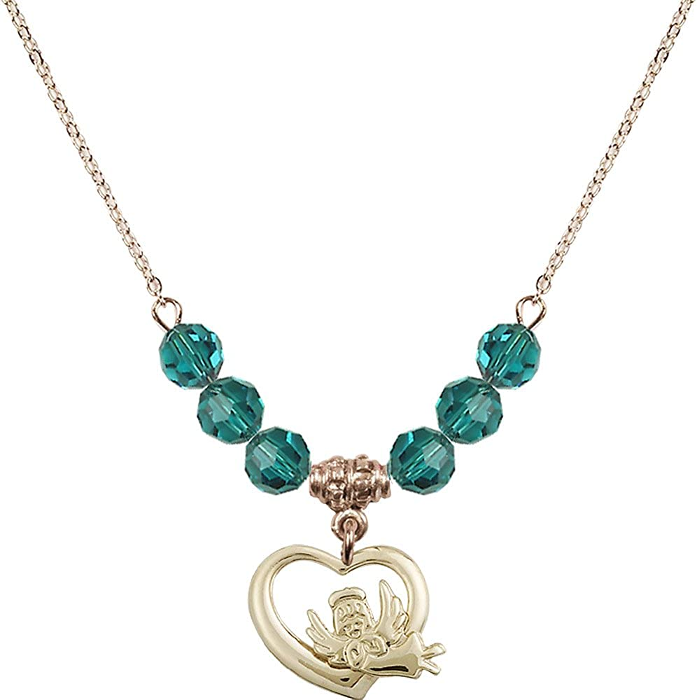 Guardian Angel Charm. 18-Inch Hamilton Gold Plated Necklace with 6mm Zircon Birthstone Beads and Gold Filled Heart