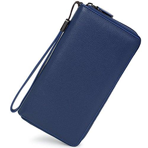 Women RFID Blocking Wallet Leather Zip Around Clutch Large Travel Purse Wrist Strap (Navy Bllue) by Bveyzi (Image #1)