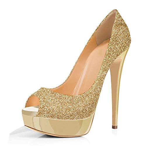 Joogo Women Peep Toe Pumps Platform Thin Heel Stiletto Sandals Wedding High Heels Slip On Dress Shoes Gold Shimmer Glitter Size 11
