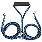 Q4Pets Double Dog Lead for 2 Dogs. Tangle Free Leash with Comfortable Foam Handle. (Blue Black)