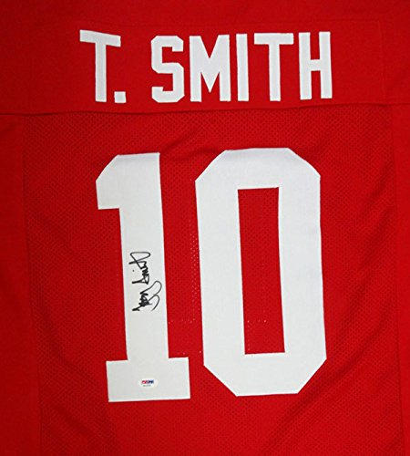 - OHIO STATE BUCKEYES TROY SMITH AUTOGRAPHED RED JERSEY PSA/DNA STOCK #99697