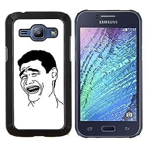 """Planetar® ( El hombre de la sonrisa Riendo Arte Negro Blanco Ironía Cita"""" ) Samsung Galaxy J1 / J100 Fundas Cover Cubre Hard Case Cover"""