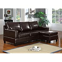 Major-Q Bonded Leather Sectional Chaise Reversible Sofa Espresso