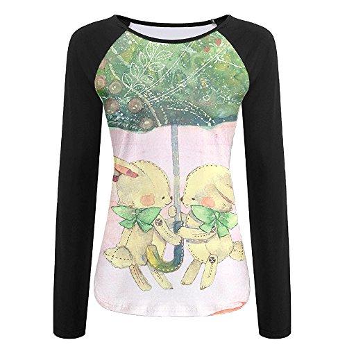 Womens Forest Bunny Print Gym Blouses Tops Sports Quick-drying Baseball Shirts (Yarn Bunny Print)