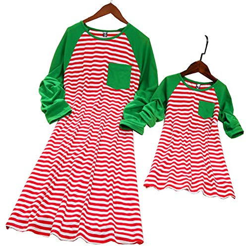 Stripe Pattern Christmas Dress for Mother and Daughter Matching Clothes Outfits (4-5 T, Daughter's)
