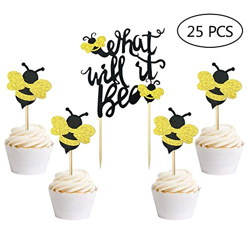 25 PCS What Will It Bee Cake Topper Bumble Bee Baby Shower Cake Topper Gender Reveal Party Decorations -