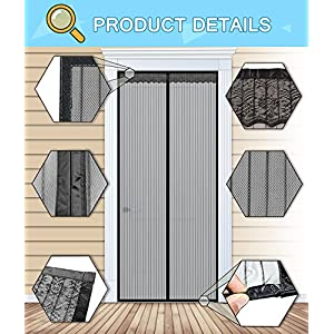N-Green Reinforced Magnetic Screen Door - Heavy Duty Mesh Curtain and Full Frame Velcro, Keeps Mosquitoes Out, Toddler and Dog Friendly, No Tools Required (Fits Door Up to 36x96)