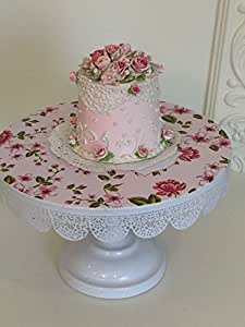 Pink And White 9.5 inch Metal Cake Stand, Shabby chic, Round Wedding, Birthday Party, Dessert Cupcake Pedestal Display Plate with floral design