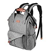 Diaper Bag Backpack, Canbeisi Multi-Function Baby Lightweight Nappy Changing for Mom Unisex Diaper Backpack with Stroller Straps and Insulated Pockets (Gray)