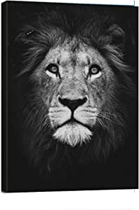 DaFun Art-Abstract Posters Wall Art Black White Animal Lion Head Canvas Print Frame Picture Painting for Office Hallway Home Decor Kids Room Gift-12