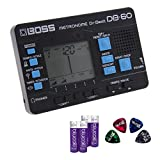 BOSS DB-60 DR. BEAT METRONOME -INCLUDES- Blucoil 4-Pack of AA Batteries AND Blucoil Audio Guitar Pick