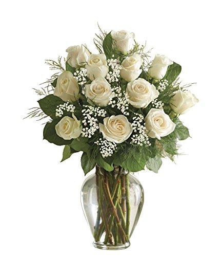 1800flowers Rose Elegance Premium Long Stem White Roses 12 Stem