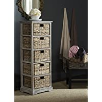 Safavieh American Homes Collection Vedette Distressed 5 Wicker Basket Storage Tower