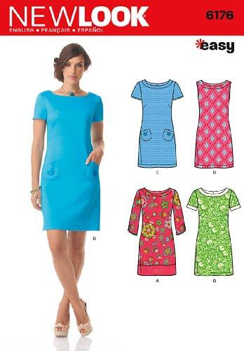 Simplicité Des Modèles Créatifs Nouveau Look De Robe De 6176 Misses Avec Des Variations De Manches, Un (8-10-12-14-16-18)