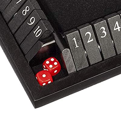 WE Games Travel Size 4-Player Shut The Box - Black Stained Wood - 8 inches: Toys & Games