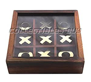 Collectibles Buy Authentic Vintage Wooden Tic Tac Toe/ Noughts and Crosses Game Unique Handmade Wood Family Board Games Indoor