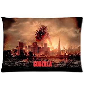 LuckyAppleStore Custom Cotton & Polyester Soft Rectangle Pillow Case Cover 20X30 (One Side) - American Science Monster Movies Hot Film Godzilla 2014 Poster Zilla Lizard Pattern Personalized Pillowcase