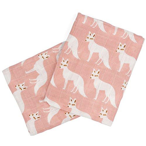 Milkbarn Organic Cotton Burp Cloths (2 pack) (Pink Fox)