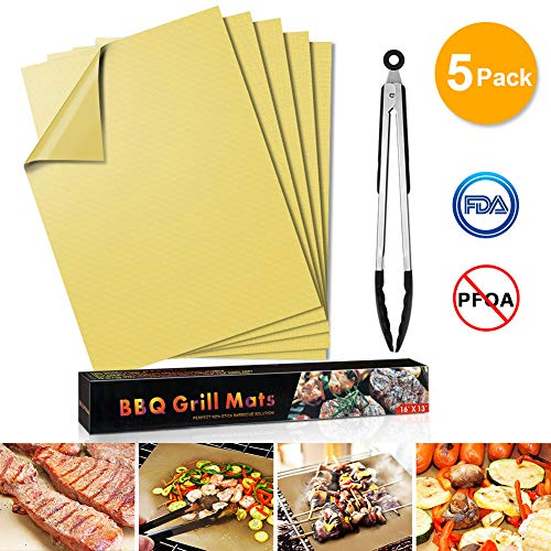 Grill Mat, Non Stick Set of 5 Heavy Duty BBQ Grill Mats,BBQ Grill Baking Mats - Reusable, Easy to Clean Barbecue Grilling Accessories with 1 Silicone Food Clip 16x13 inches(Yellow)