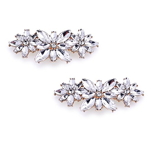 ElegantPark BL Fashion Flower Design Rhinestones Wedding Party Decoration Shoes Clips Gold 2 ()