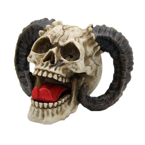 Laughing Demon Skull with Horns Halloween Figurine Demonic Decoration Sculpture (Skull Halloween Decoration)