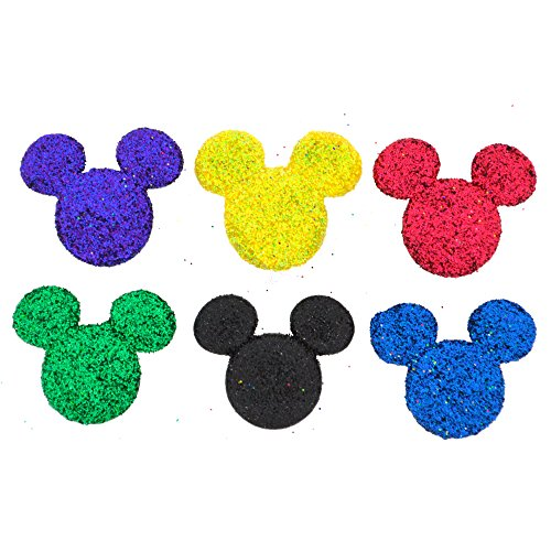 Disney Button Embellishment --  Glitter Mickey Heads