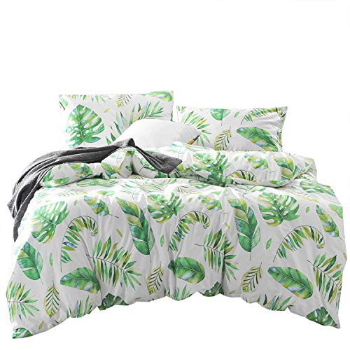 Wake In Cloud - Tree Leaves Duvet Cover Set, 100% Cotton Bedding, Green Monstera Plant and Banana Leaves Pattern Printed on White, with Zipper Closure (3pcs, Twin Size)