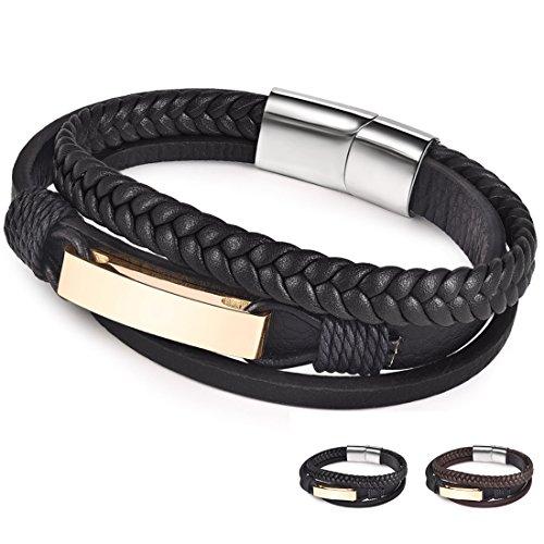 Jiayiqi Leather Bracelet Magnetic-Clasp Cowhide Braided Multi-layer Wrap Mens Bracelet