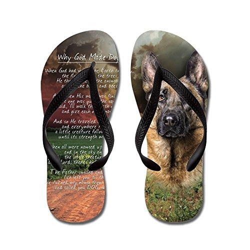 Cafepress Godmadedogs (knop) - Flip Flops, Grappige String Sandalen, Strand Sandalen Zwart