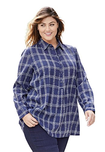 Jessica London Women's Plus Size Rayon Tunic Navy Ivory Window Pane,18 (Jessica London Sweater Dress)