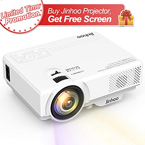 Mini Projector 1080P Supported, 2400 Lumens Full HD Video Projector with 176'' Projector size, 50000 Hours Lamp Lifetime, Compatible with HDMI, VGA, AV, USB for Home Theater, Movie, Outdoor Activities