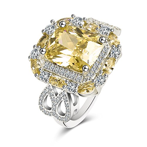 (OBSEDE Womens Cubic Zirconia Platinum Plated Brass Antique Rings Wedding Anniversary Promise Bands Yellow)