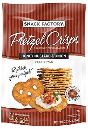 Snack Factory Pretzel Crisps, Honey Mustard and Onion, 7.2 Ounce