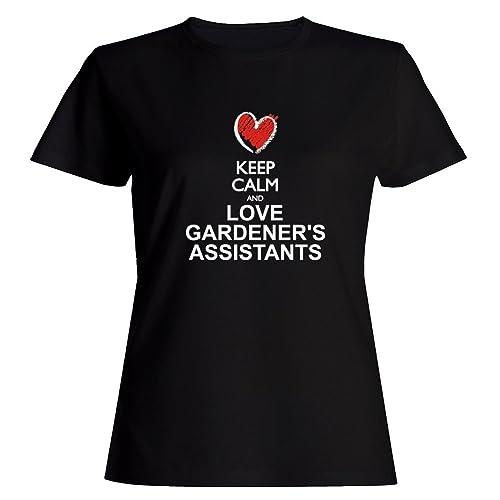 Idakoos Keep calm and love Gardener's Assistants chalk style Maglietta donna