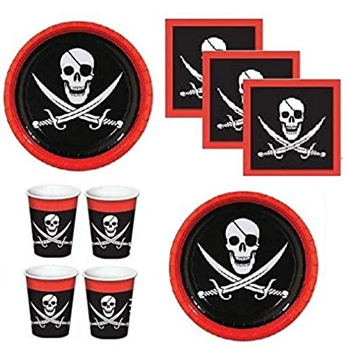 Pirate Party - Pirate Birthday Party Supplies for 16 Guests Including Large Plates, Napkins & Cups -