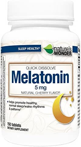 Nature's Wonder Melatonin 5mg Quick Dissolve Cherry for Sleeping, 150 Count