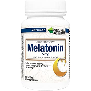 Natures Wonder Melatonin 5mg Quick Dissolve Cherry for Sleeping, 150 Count