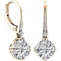 14K Gold 8 MM Each Cushion Cut Lab Created White Sapphire & Round Cut White Diamond Drop Earrings