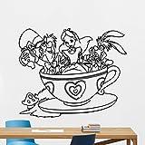 Alice In Wonderland Wall Decal Cheshire Cat White Rabbit Mad Hatter Vinyl Sticker Disney Cartoon Wall Art Design Housewares Kids Boy Girl Room Bedroom Decor Removable Wall Mural 6crt