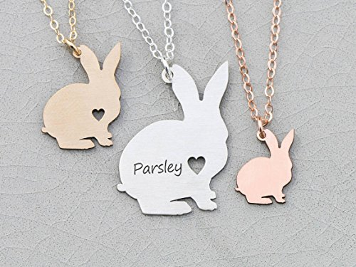 Rabbit Floppy (Bunny Rabbit Necklace - IBD - Easter Gift Basket - Personalize with Name or Date - Choose Chain Length - Pendant Size Options - 935 Sterling Silver 14K Rose Gold Filled - Ships in 1 Business Day)